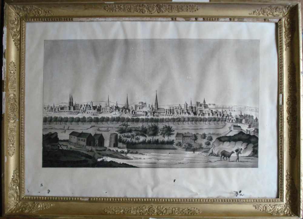 Old Drawing-perspective View Of A German City-hamburg-1800