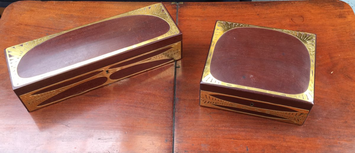 Box And Box Gloves-art Nouveau-mahogany Massif And Gold Brass
