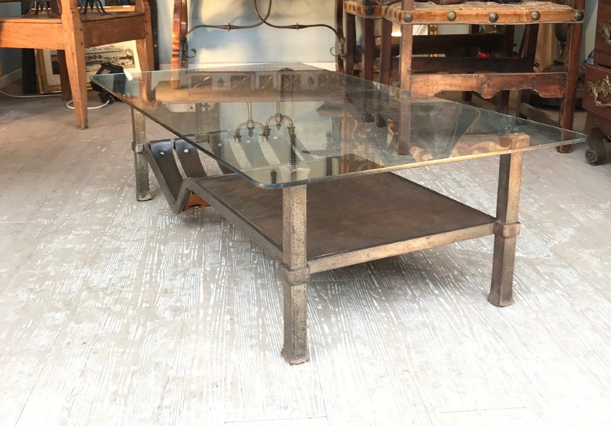 Wrought Iron And Leather Coffee Table - 1970s-photo-2