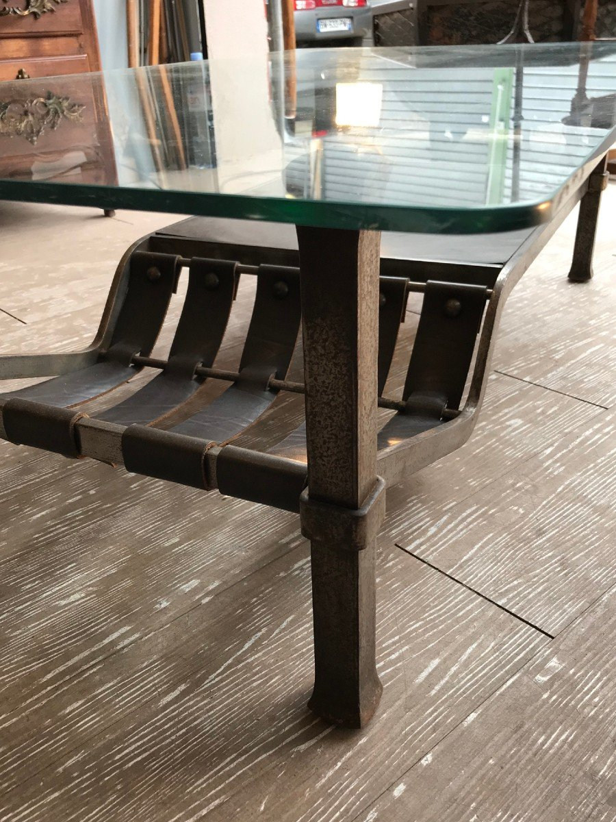 Wrought Iron And Leather Coffee Table - 1970s-photo-3