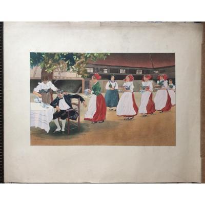 Charles Spindler-alsaciennes-grand Pochoir-signé