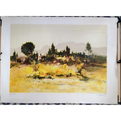 Lithographie-michel Jouenne-provence-signé & Numéroté-75x56cm