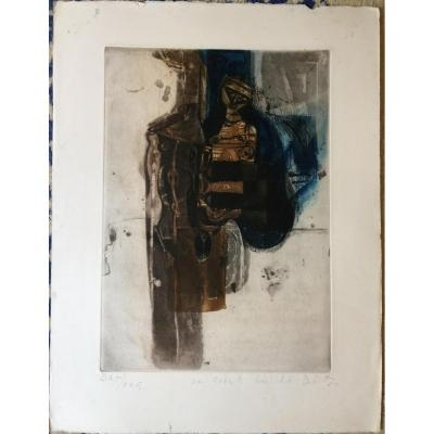 Karl Brandstätter-aquatinte-femme-bat Dédicacée Et Signée-1972
