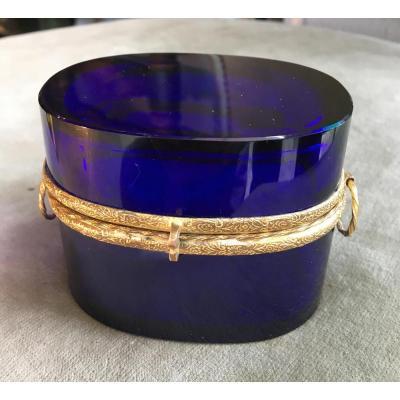 Boite En Cristal Bleu-Époque Restauration-19eme