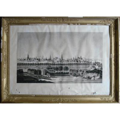Dessin Ancien-vue Perspective d'Une Ville Allemande-hambourg-vers 1800