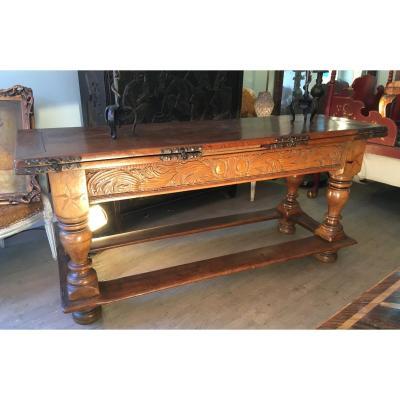 Large Swiss-extending Community Table In Italian-walnut-dated 1743