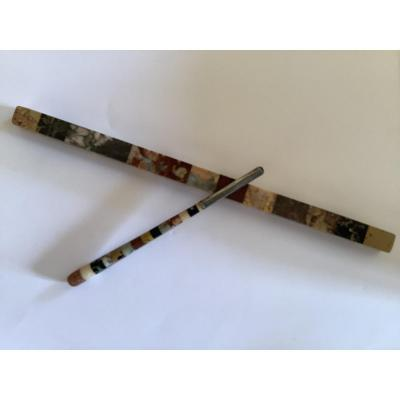 Marble Marquetry Ruler And Pen Holder