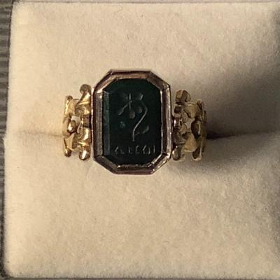 Ring XIX Gold And Rotating Seal With Intaglio On Blood Jasper