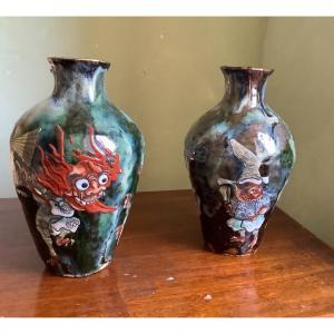 Paire De Vases Japonais Yôkai