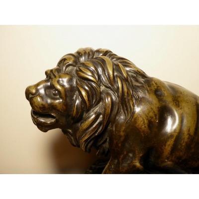 Lion Assis En Bronze d'époque XVIIIe Siècle