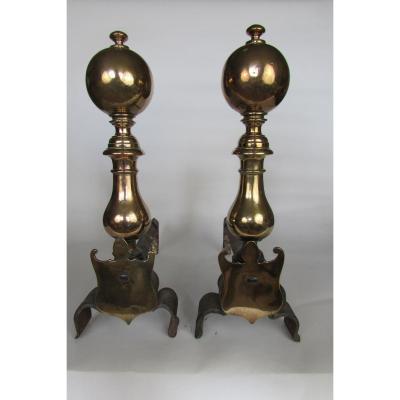 Paire De Chenets En Bronze XVIIème