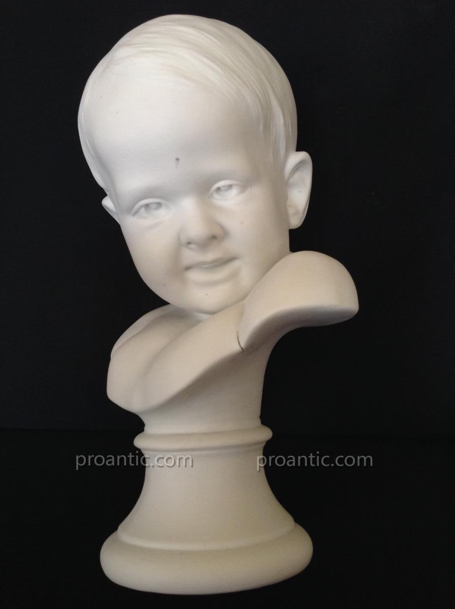 Buste En Biscuit Enfant - René Charles MASSÉ 1855-1913