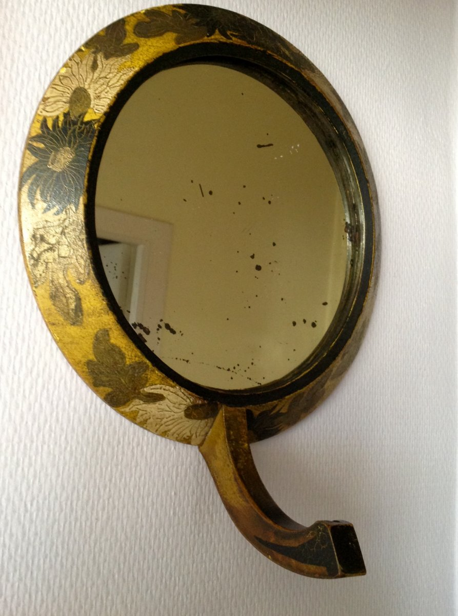Lacquered Wood Wall Mirror Circa 1900 - Delvaux In Paris Rue Royale