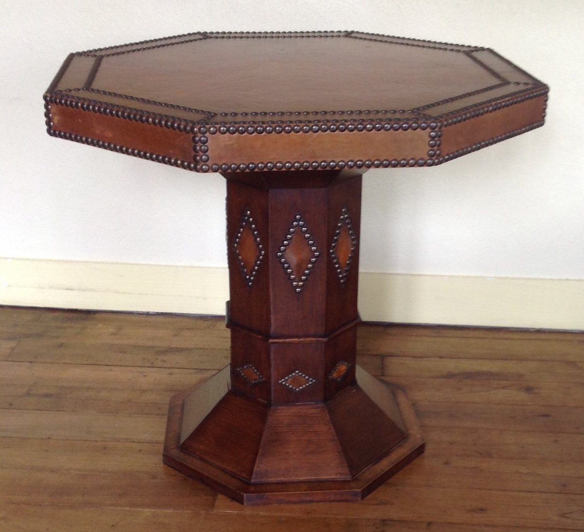 Pedestal / Side Table - Art Deco, Wood And Studded Leather.