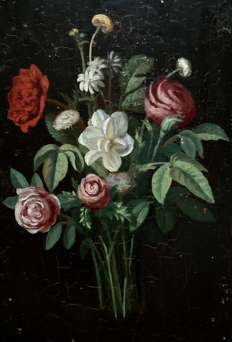 Bouquet Of Flowers - Oil On Panel