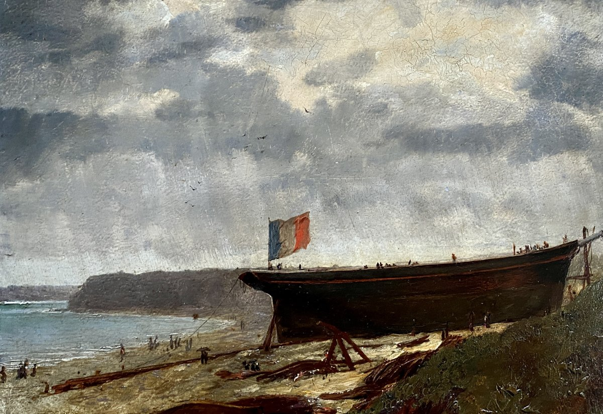 Maurice Pallandre 19th 20th - Oil On Tin - The Armament Of The Boat In (granville?)