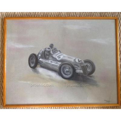 Dessin Voiture De Course F 1 1950-Alfa Romeo? -Signé Lemoine