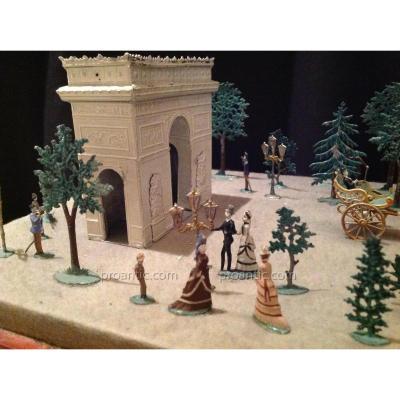 Diorama - Les Champs Elysées - époque Napoleon 3 - Allgeyer Fürth -