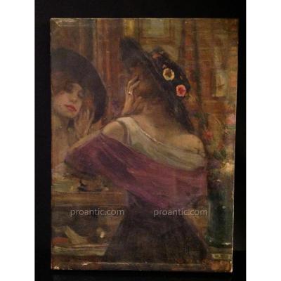 Le Reflet Du Miroir - Huile Sur Toile Signée Dongen -
