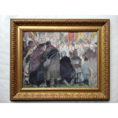 The Procession - Oil On Cardboard Signed Dh Pochon -