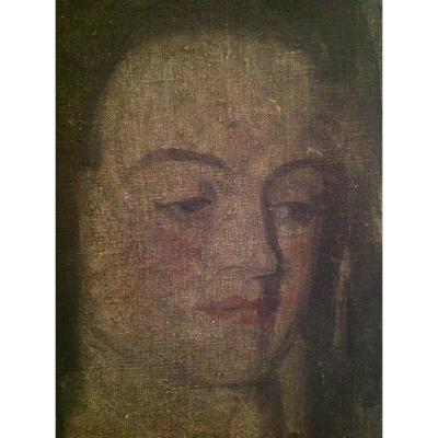 Oil On Canvas - Portrait Of Woman Around 1920