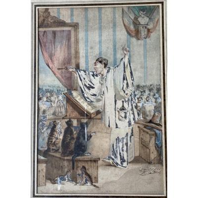 Pierrot Et La Chorale Des Chats - Aquarelle Signée  - Vers 1900