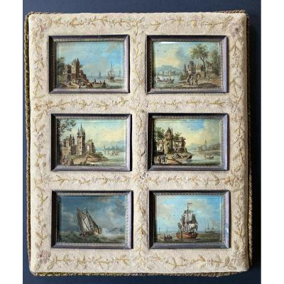 Superb state of freshness for this set of 6 miniatures - Holland early 19th - oil on panels - Navy and peach scenes - each miniature measures 5,5 * 8 cm - in their original frame covered with a tapestry - 31*27 cm<br /> free shipping for metropolitan France in colissimo with insurance.