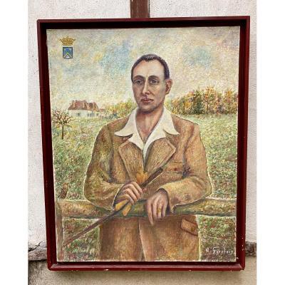 Portrait Du Marquis Godar De La Verdine - 20e