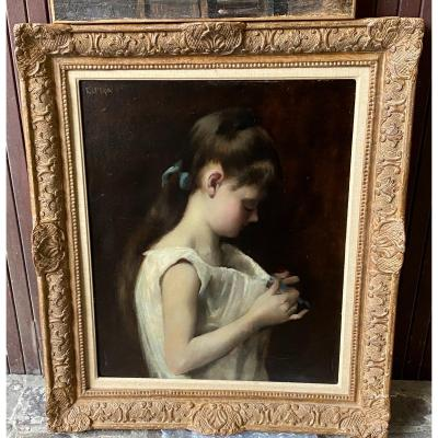 Young Girl Redo Her Knot From Her Nightgown-  Frederic Le Brun 1852-1901