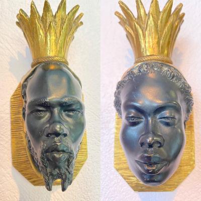 Appliques En Bronze XXème , Baguès - Nubiens Couronnés