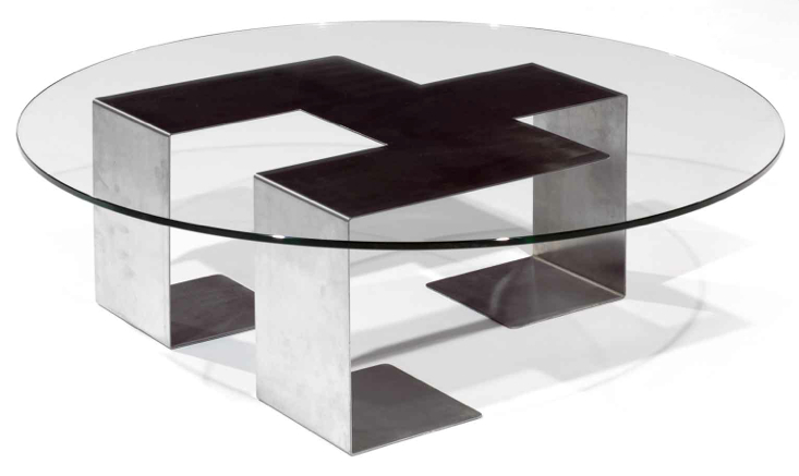Table Basse Epoque 1970 Acier Et Verre