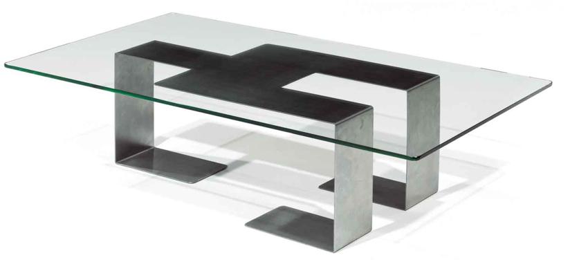 Table basse epoque 1970 acier et verre tables basses for Table basse acier et verre