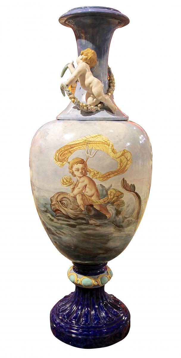 Vase Monumental En Céramique Signé Auguste Jean époque  Napoléon III