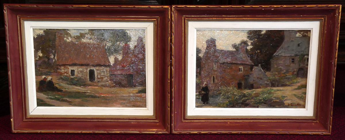 Pair Paintings Signed Joseph Perrachon And Located In Brittany