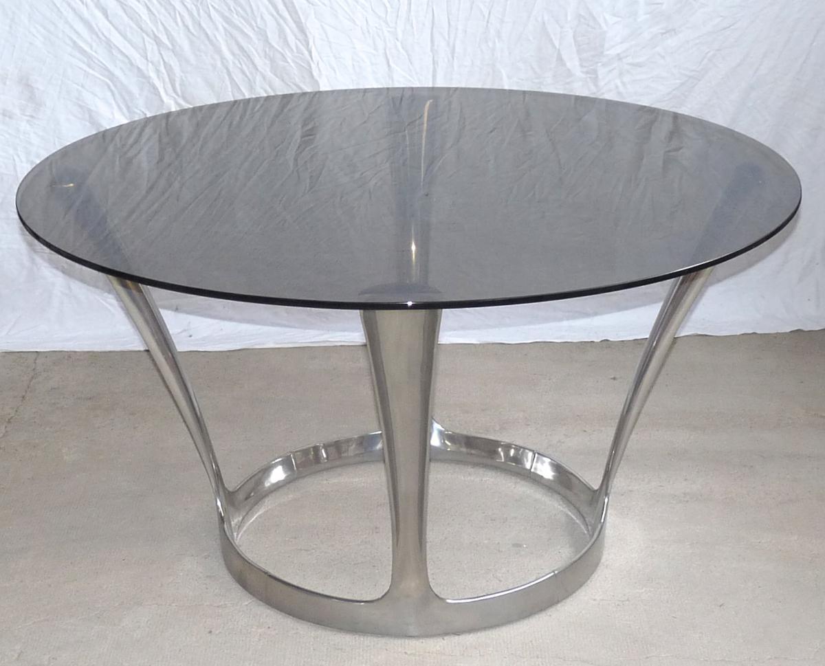 Grande table design mich le charron poque 1970 fonte d - Grande table design ...