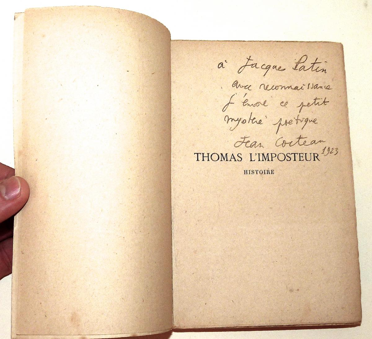 Jean Cocteau - Envoi Autographe à Jacques Patin -  Thomas l'Imposteur - Première édition 1923