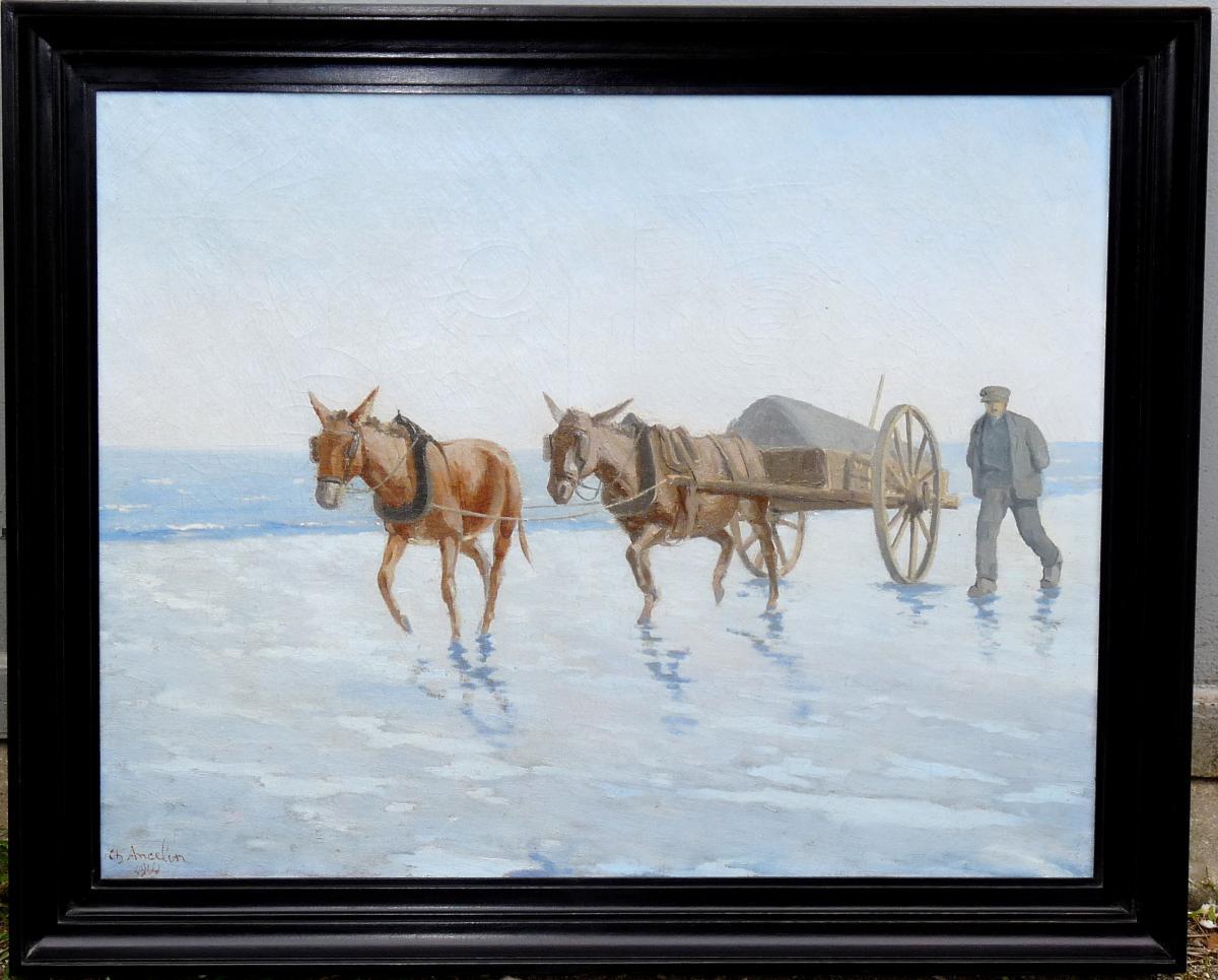 """Charles Ancelin """" Attelage Goémonier """" Peinture Sur Toile Signée Et Datée 1914"""
