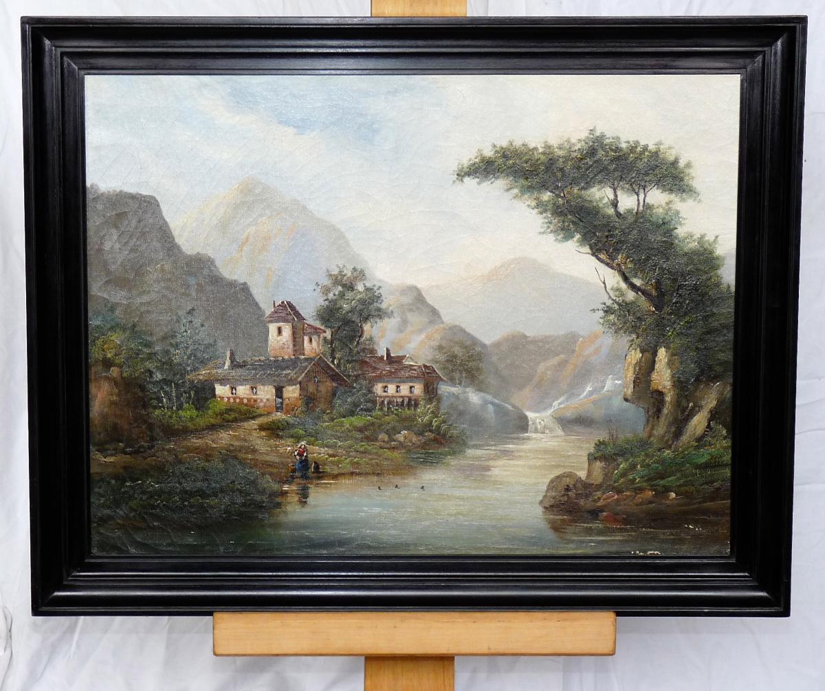 Ecole Suisse époque XIXe - Peinture à l'Huile Sur Toile - Paysage