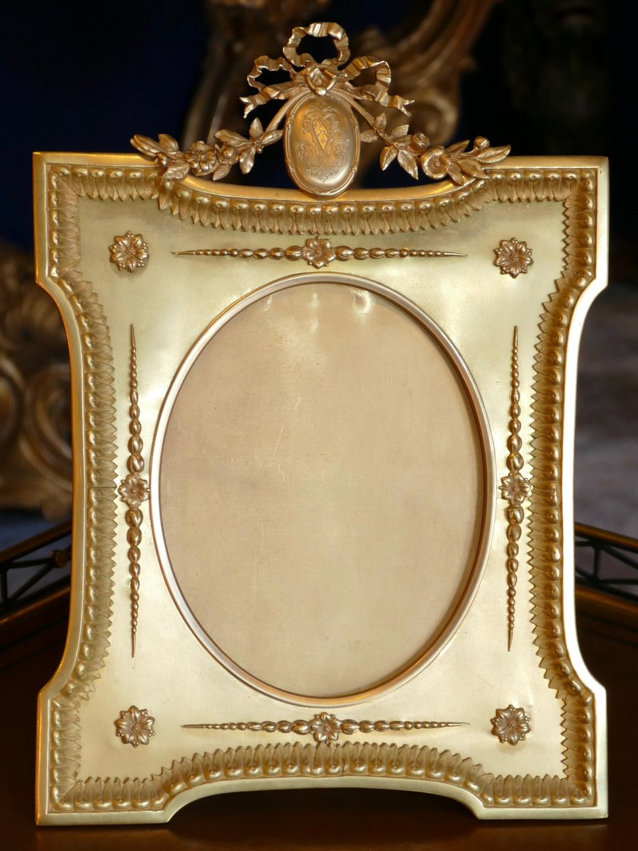 Très Grand Cadre Porte-photo En Bronze Doré d'époque Napoléon III