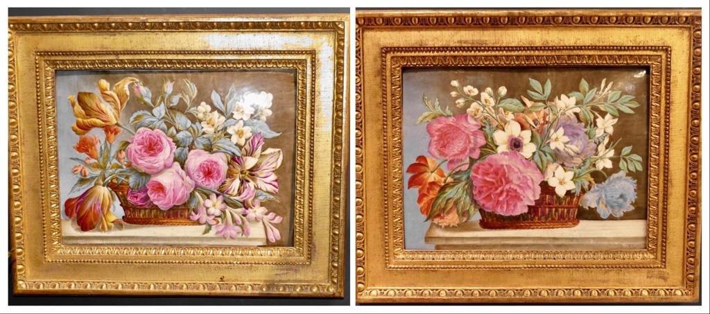 Grande Paire De Peintures Sur Plaques De Porcelaine signées et datées 1860 Style Charles X