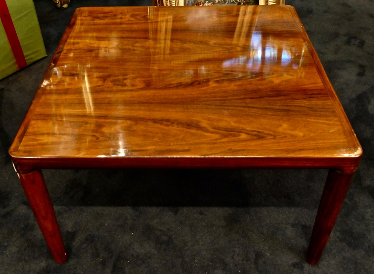 Belle Table Basse Palissandre Massif Design Scandinave Attribuée à Illums Bolighus Epoque 1960