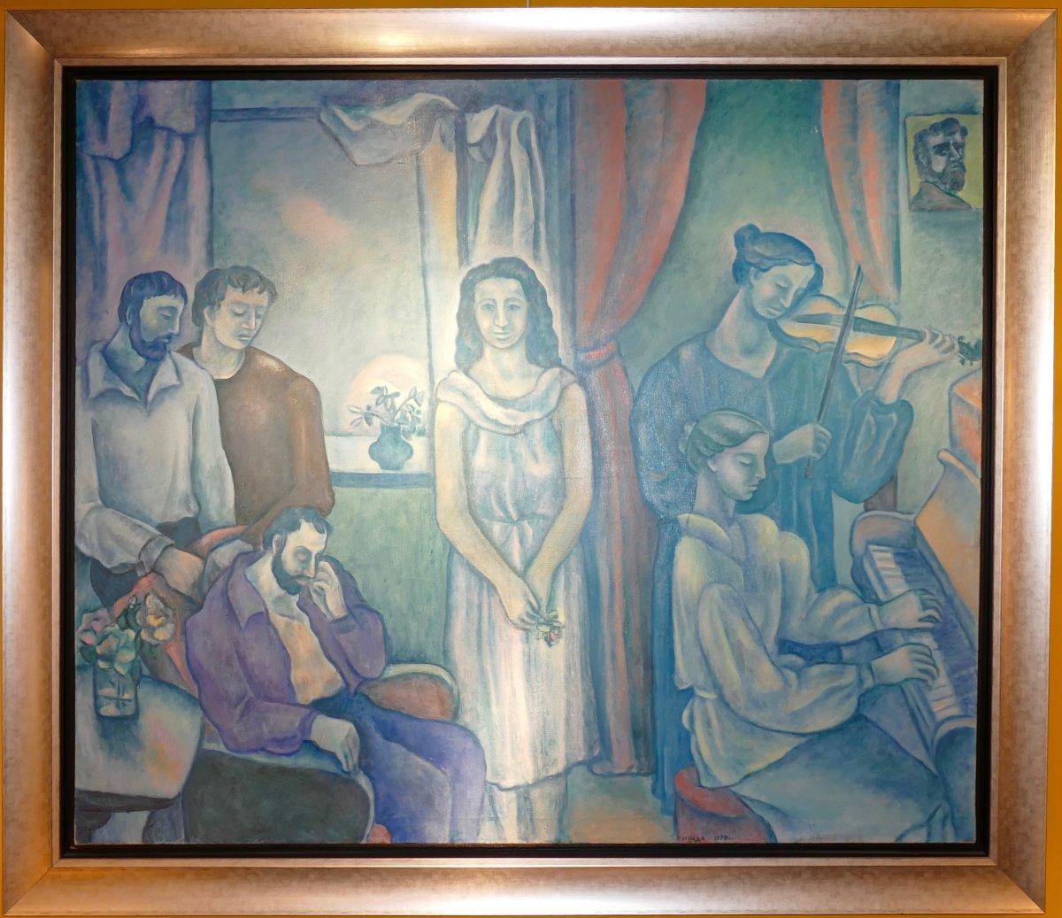Très Grande Peinture Signée Par Irina Makarova Vycheslavsky  Datée 1978 Ecole Russe