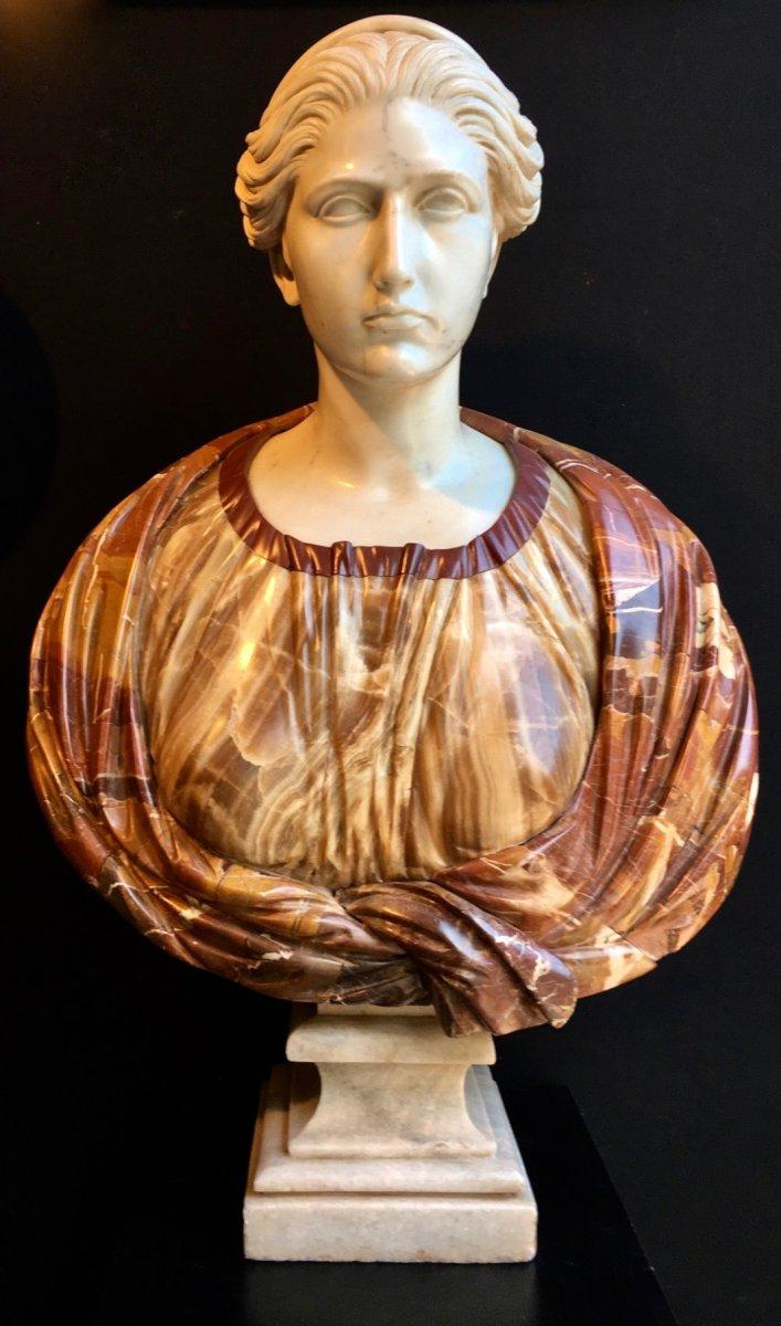 Très Beau Et Grand Buste Romain En Marbre de Carrare Et Onyx époque Vers 1900