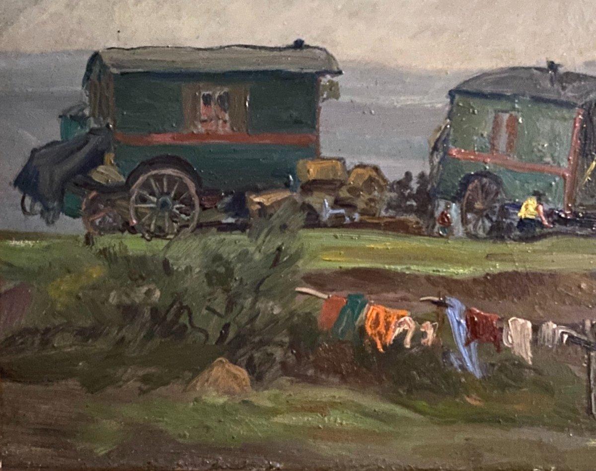 Belle Peinture Ecole Française 1940 Représentant Un Campement De Gitans-photo-2