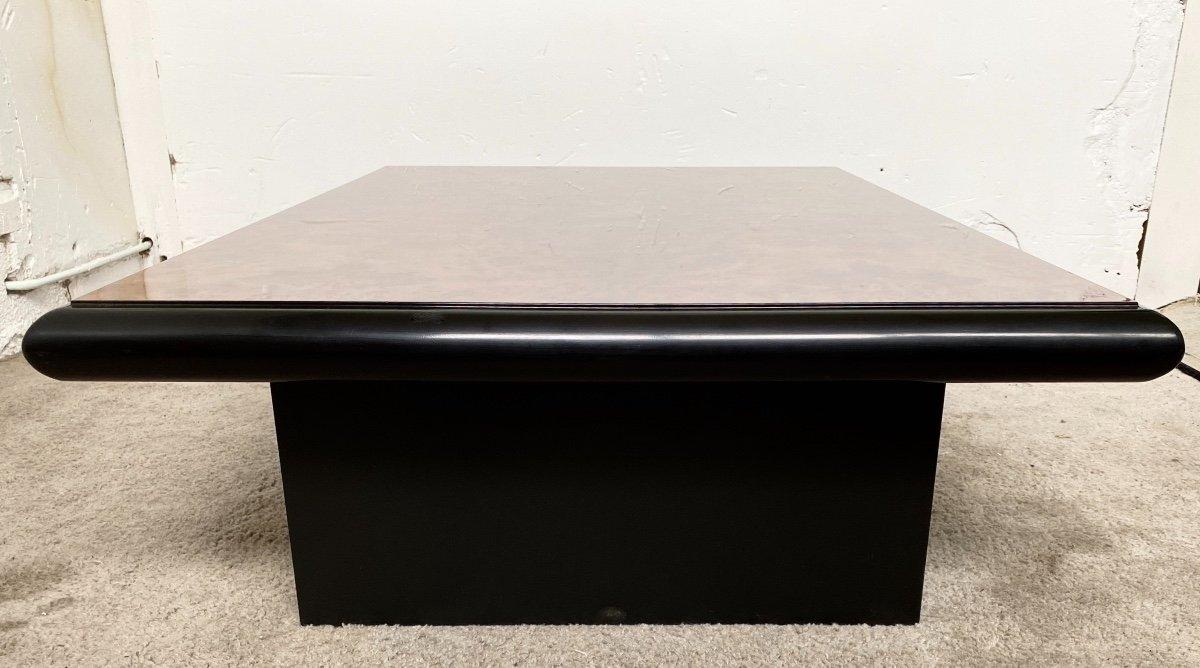Belle Table Basse Design Jean-pierre Mesmin Années 80 En Loupe d'Orme Et Bois Laqué-photo-1
