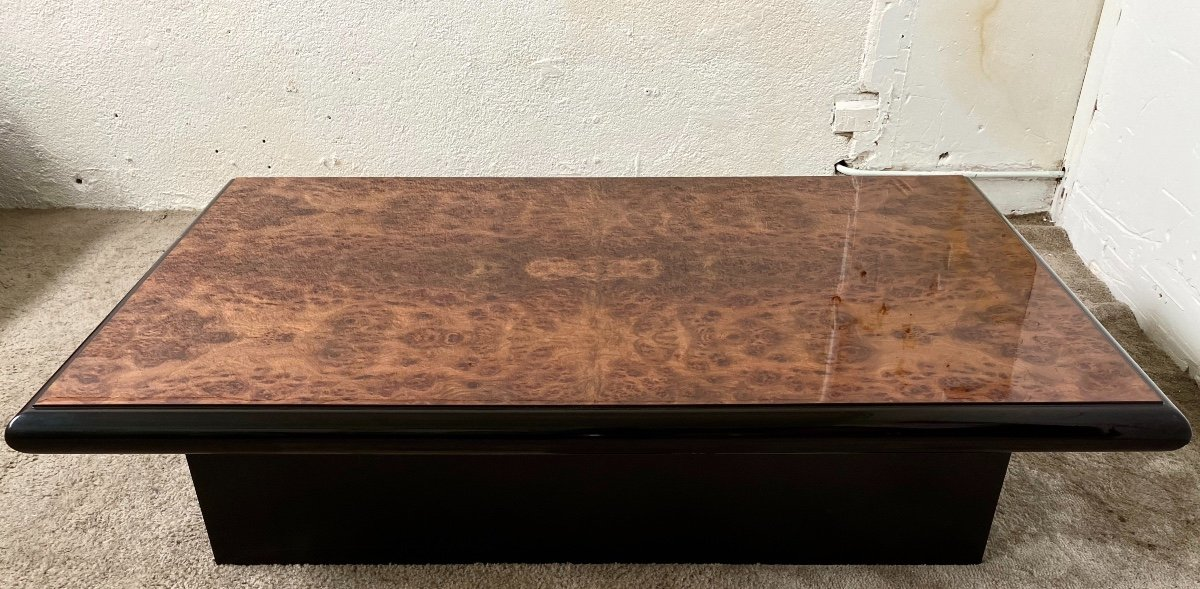 Belle Table Basse Design Jean-pierre Mesmin Années 80 En Loupe d'Orme Et Bois Laqué-photo-3