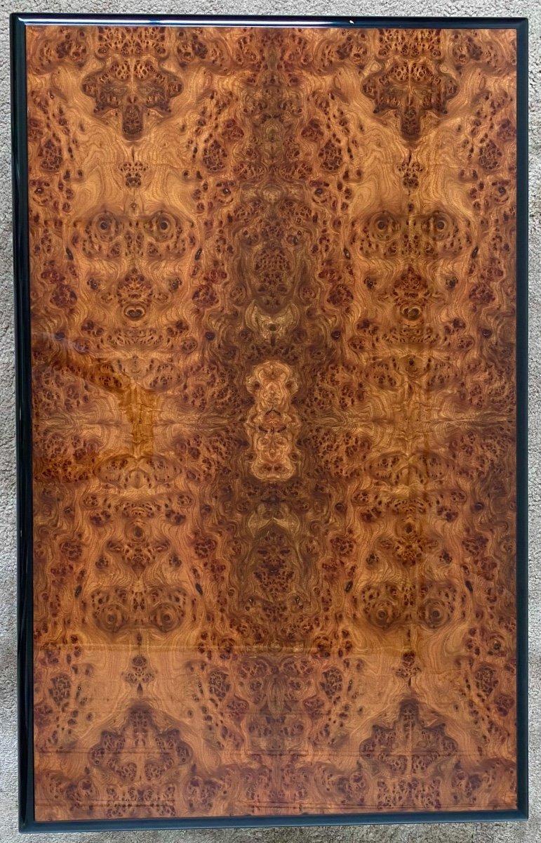 Belle Table Basse Design Jean-pierre Mesmin Années 80 En Loupe d'Orme Et Bois Laqué-photo-5