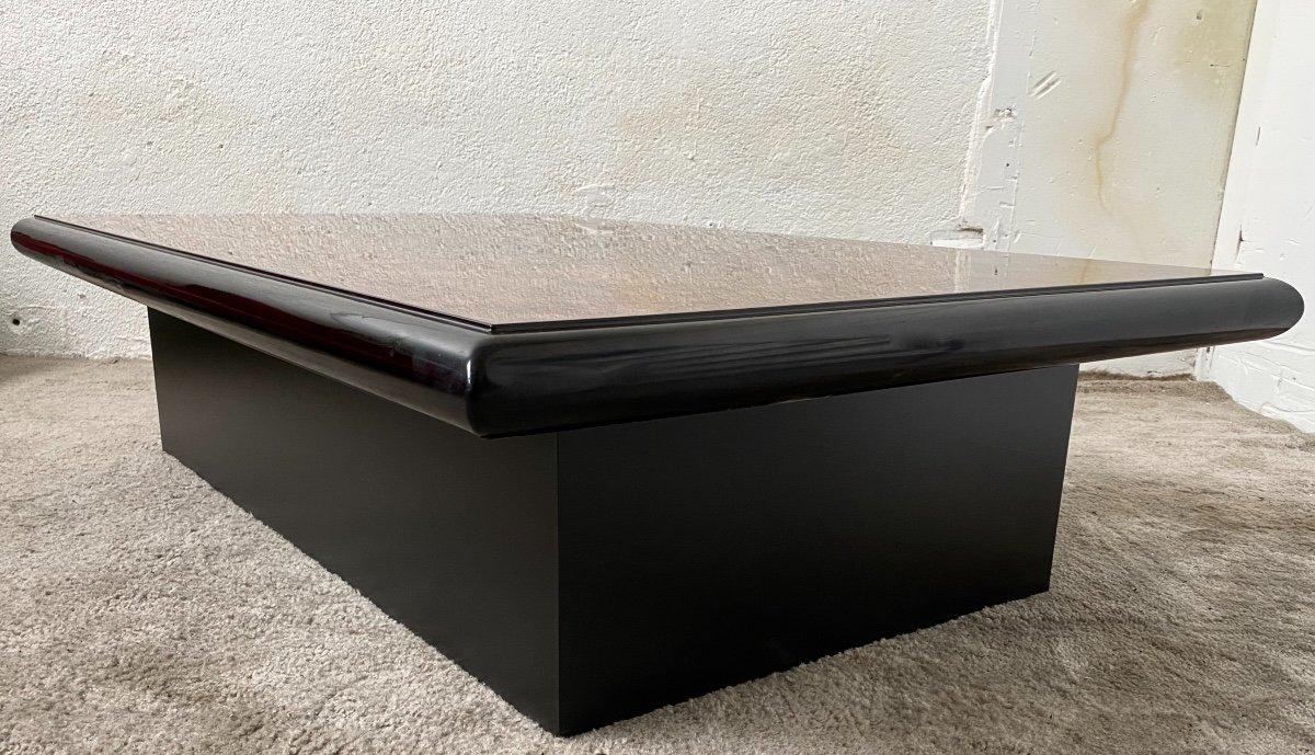 Belle Table Basse Design Jean-pierre Mesmin Années 80 En Loupe d'Orme Et Bois Laqué-photo-7