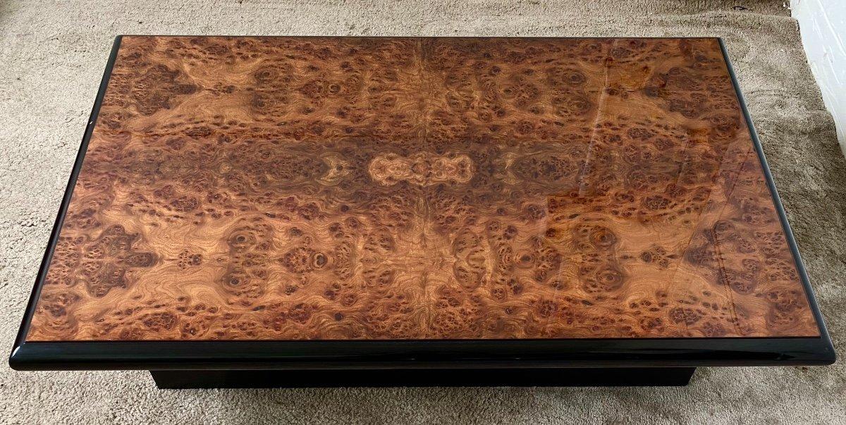 Belle Table Basse Design Jean-pierre Mesmin Années 80 En Loupe d'Orme Et Bois Laqué