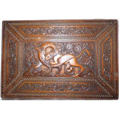 Coffret Qadjar Iran époque XIXe Bois de santal sculpté